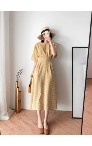 KDS0330130L Plaid trumpet sleeves midi dress REAL PHOTO