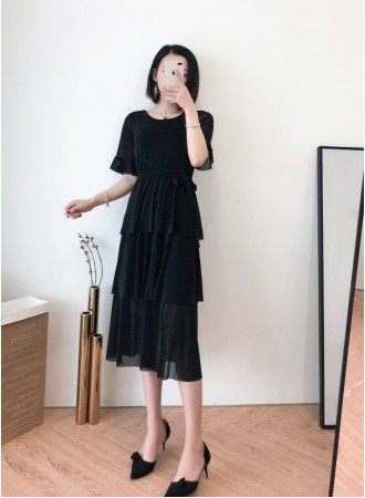 KDS0330620L Ruffle sleeves tiered dress REAL PHOTO