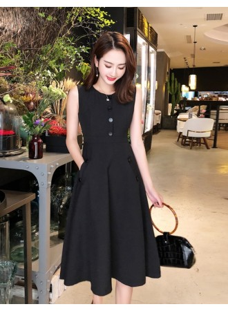 KDS03303889W Button skater black dress REAL PHOTO