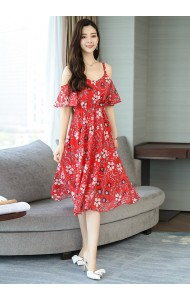 KDS040358685F Off shoulder floral chiffon dress REAL PHOTO