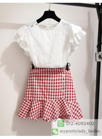 KST04030818Q Ruffle crochet top with plaid skirt set REAL PHOTO