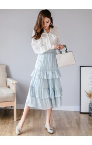 KSK04215117M Pleated tiered skirt REAL PHOTO