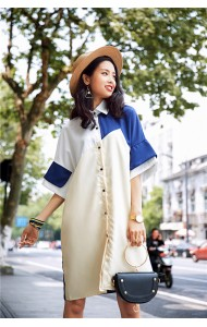 KDS04238413X Stitching shirt dress REAL PHOTO