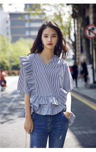KTP04239081X Ruffle stripes irregular shirt REAL PHOTO