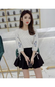 KTP04231468X Puff sleeves embroidery blouse REAL PHOTO