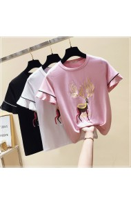 KTP04285408J Embroidery deer t shirt with sequin decorated REAL PHOTO