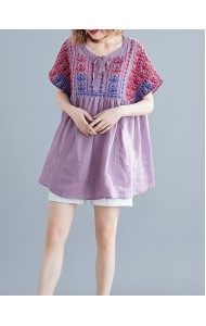 KTP05066893Z Embroidery linen blouse REAL PHOTO
