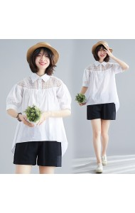 KTP0506618M Crochet shoulder puff sleeves blouse REAL PHOTO