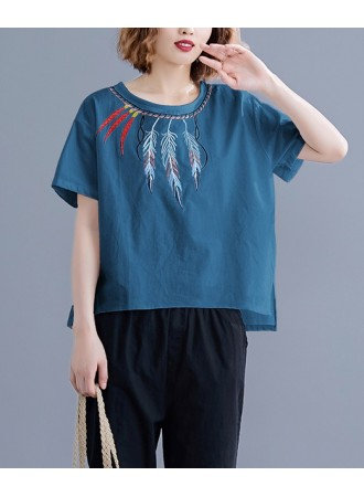 KTP05068407Q Feather embroidery blouse REAL PHOTO