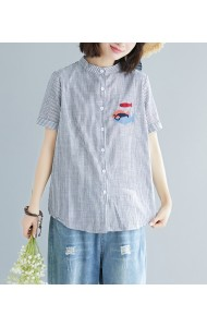 KTP05061108YQ Stripes embroidery fish blouse REAL PHOTO