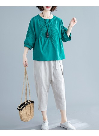 KTP05062318J Embroidery puff sleeves blouse REAL PHOTO