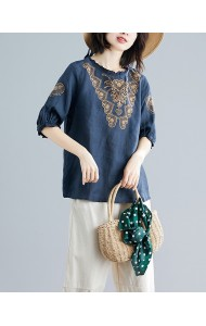 KTP05061291Y Embroidery puff sleeves linen blouse REAL PHOTO