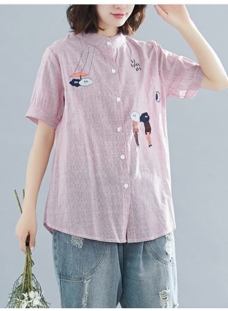 KTP05075218J Raining day stripes embroidery blouse REAL PHOTO