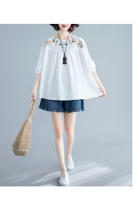 KTP05073318J Wawa puff sleeves embroidery blouse REAL PHOTO