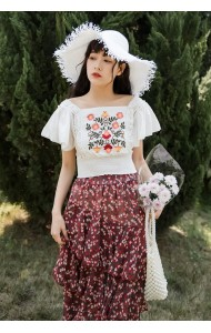 KTP05075289J Bared back embroidery lace blouse REAL PHOTO