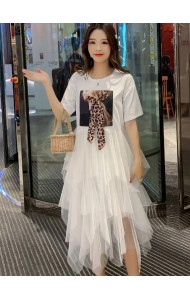 KDS05085366Q Leopard ribbon tiered tulle dress REAL PHOTO