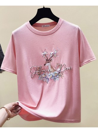 KTP05090808J Embroidery deer floral t shirt REAL PHOTO