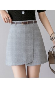 KSK05109088X Asymmetric cheker belted skirt REAL PHOTO