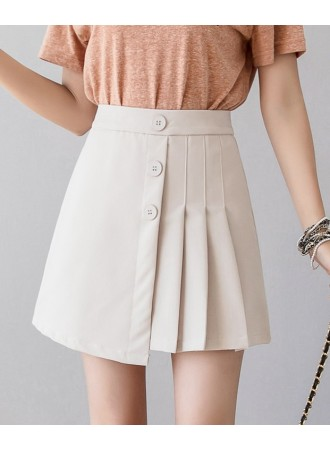 KSK05102188X Pleated button A line skirt REAL PHOTO