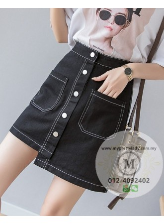 KSK05137205M Asymmetric skirt with button decorated REAL PHOTO