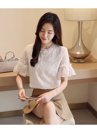 KTP05131366O Lotus collar embroidery blouse REAL PHOTO