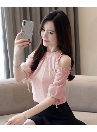 KTP05133399M Off shoulder embroidery blouse REAL PHOTO