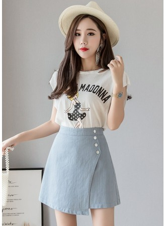 KSK05146205M Asymmetric skirt with button decorated REAL PHOTO