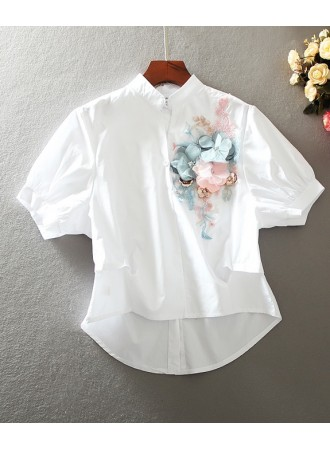 KTP05147517Y 3D flower embroidery blouse REAL PHOTO
