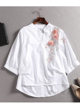 KTP05146517Y 3D flower embroidery blouse REAL PHOTO