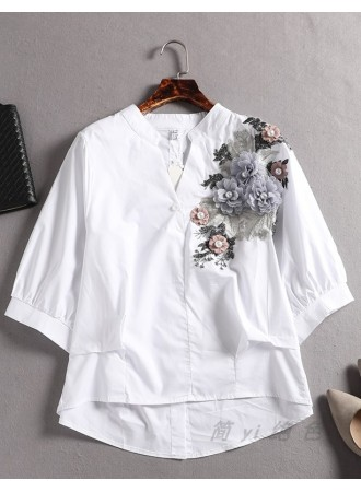 KTP05148517Y 3D flower embroidery blouse REAL PHOTO