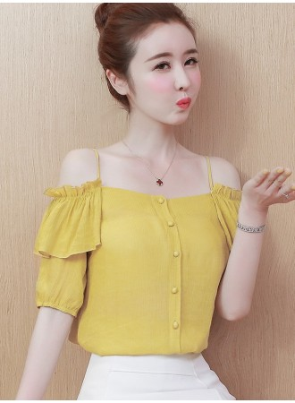 KTP0514925Q Off shoulder strappy ruffle blouse REAL PHOTO