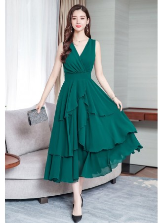KDS0515017G Asymmetric layer dress in 5 colors REAL PHOTO