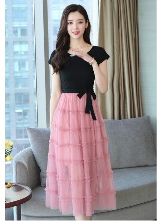 KDS05155678Y Fake 2 pc layer dress  REAL PHOTO