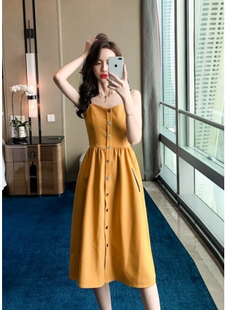 KDS05161318W Button cami dress with pocket REAL PHOTO