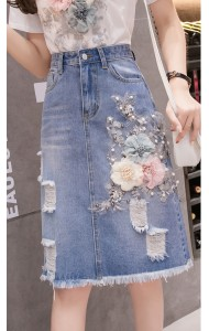 KSK05183788Y 3D flower denim midi skirt REAL PHOTO