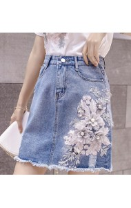 KSK05181255Y 3D flower denim short skirt REAL PHOTO
