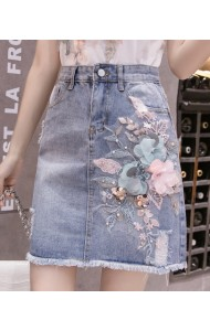 KSK05180255Y 3D flower denim short skirt REAL PHOTO