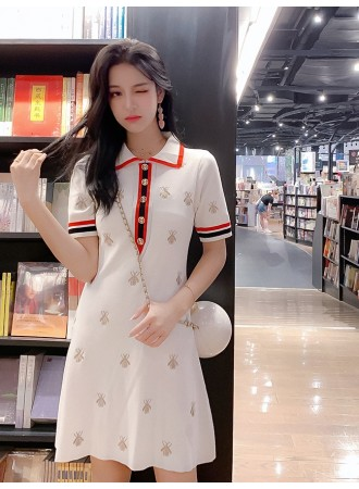 KDS05187408Y Embroidery bee knitted dress REAL PHOTO