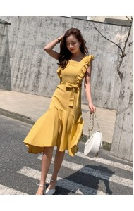KDS05197136Z Ruffle asymmetric mermaid linen dress REAL PHOTO