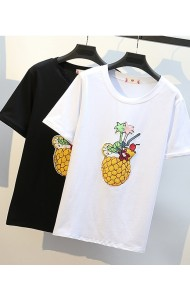 KTP05203009R Sequin pineapple plus size t shirt REAL PHOTO