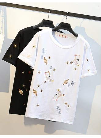 KTP05205009R Embroidery planet plus size t shirt REAL PHOTO