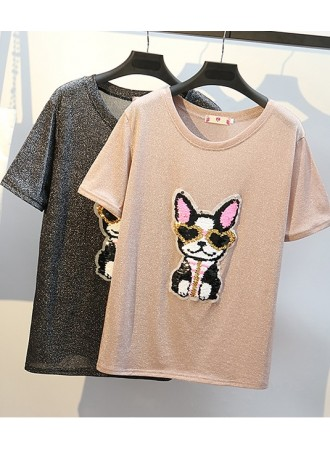 KTP05208991R Glitter sequin doggy plus size t shirt REAL PHOTO