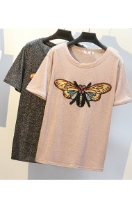 KTP05209991R Glitter sequin bee plus size t shirt REAL PHOTO