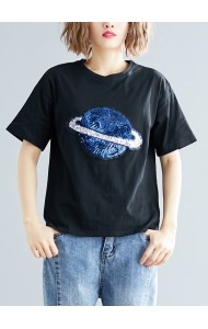 KTP05208232X Sequin planet plus size t shirt REAL PHOTO