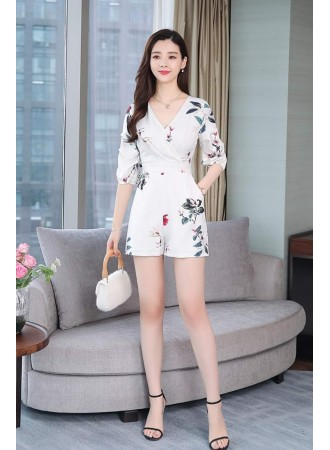 KJP05211458Y Overlapping floral puff sleeves jumpsuit REAL PHOTO