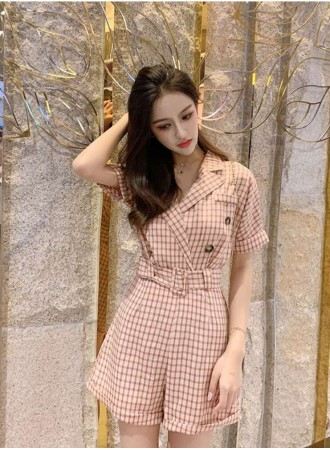 KJP05218826Y Checker overlapping jumpsuit REAL PHOTO