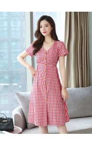 KDS05231678Y Checker V neck midi dress REAL PHOTO
