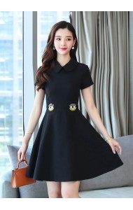KDS05237878YAA Collar dress with eye embroidery on waist REAL PHOTO