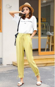 KPT05247196Z Drawstring pants in 4 colors REAL PHOTO