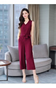 KJP05258358Y Plus size v-neck button-up bow jumpsuit REAL PHOTO
